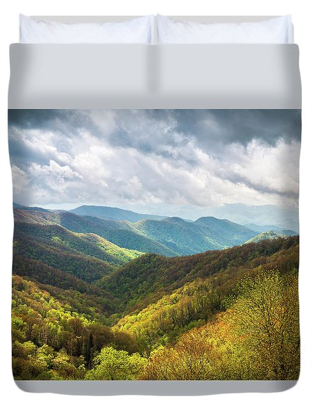 Great Smoky Mountains North Carolina Spring Scenic Landscape Duvet Cover