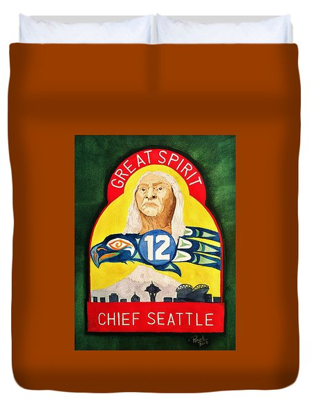 Great Spirit Seattle 12s Duvet Cover by Rand Swift