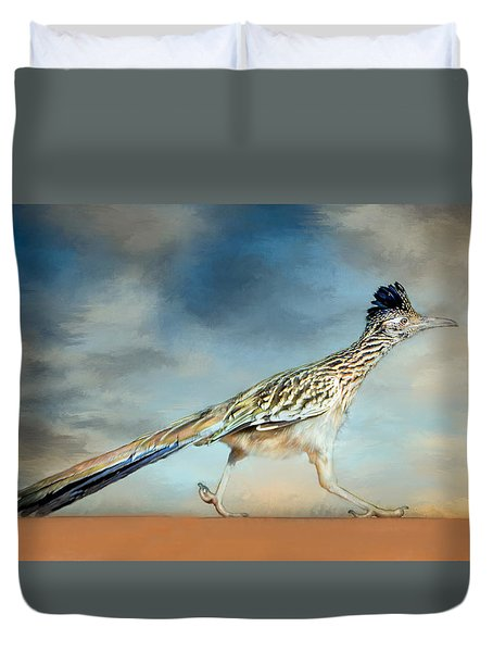 Duvet Cover featuring the painting Greater Roadrunner by Barbara Manis