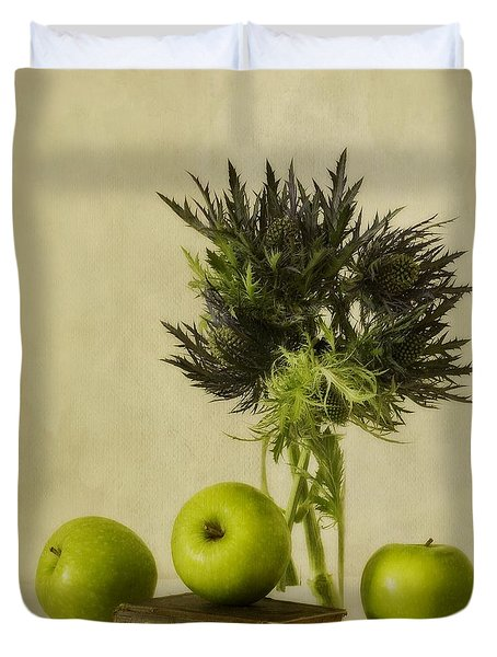 Green Apples And Blue Thistles Duvet Cover by Priska Wettstein