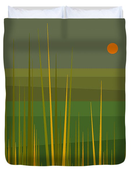 Duvet Cover featuring the digital art Green Fields by Val Arie