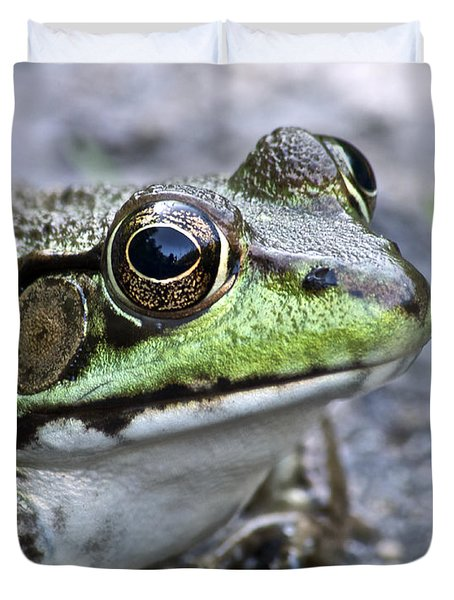 Duvet Cover featuring the photograph Green Frog by Michael Peychich
