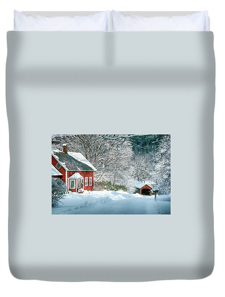 Green River Bridge In Snow Duvet Cover by Paul Miller