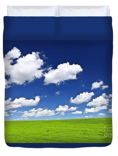 Green Rolling Hills Under Blue Sky Duvet Cover