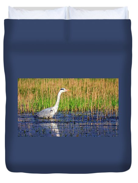 Grey Heron, Ardea Cinerea, In A Pond Duvet Cover