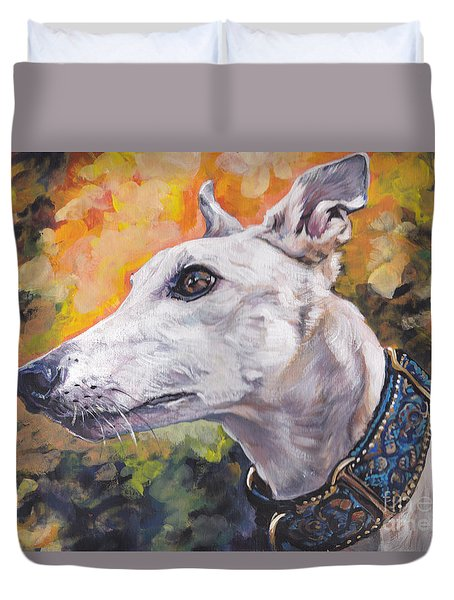 Duvet Cover featuring the painting Greyhound Portrait by Lee Ann Shepard