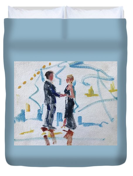 Groom And Mother Duvet Cover by Carol Berning
