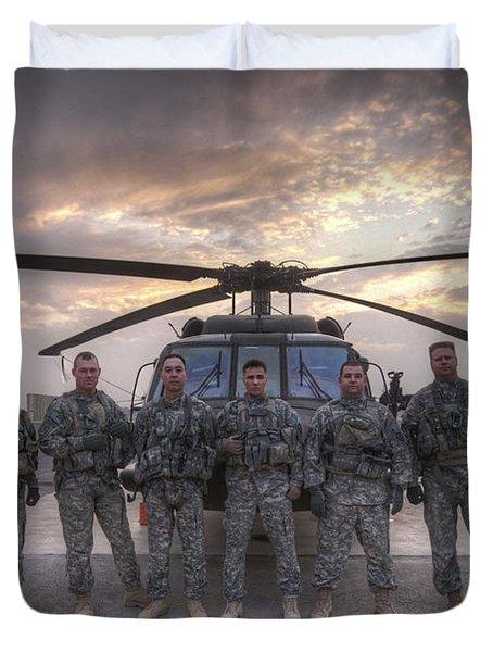 Group Photo Of Uh-60 Black Hawk Pilots Duvet Cover