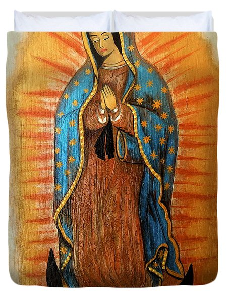 Duvet Cover featuring the painting Guadalupe Virgin by Fanny Diaz