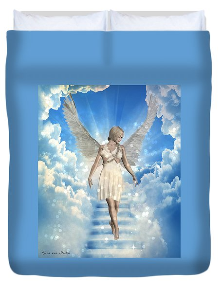 Duvet Cover featuring the digital art Guardian Angel  by Riana Van Staden