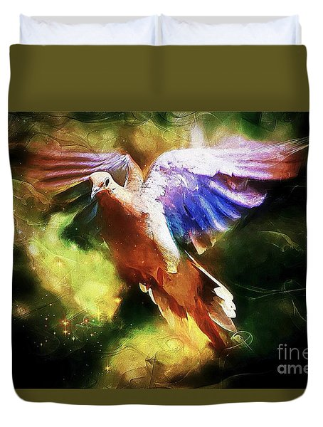 Guardian Angel Duvet Cover by Tina  LeCour