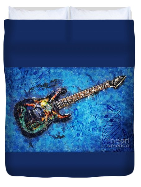 Duvet Cover featuring the digital art Guitar Love by Ian Mitchell