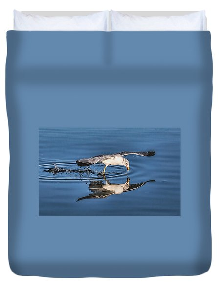 Duvet Cover featuring the photograph Gull Reflection by Susi Stroud