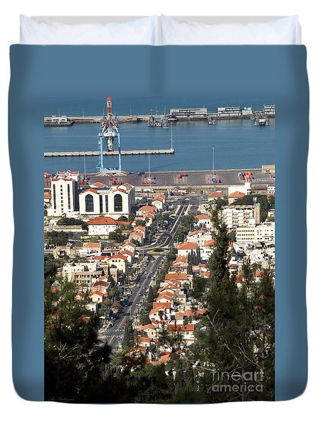 Duvet Cover featuring the photograph Haifa - The German Colony by Arik Baltinester