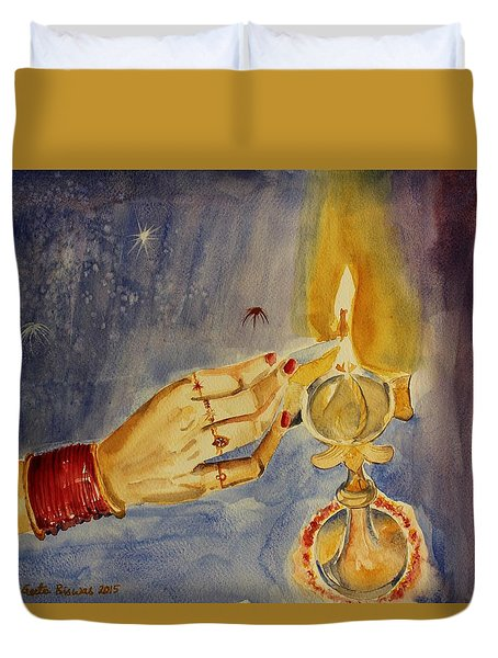 Duvet Cover featuring the painting Happy Diwali by Geeta Biswas