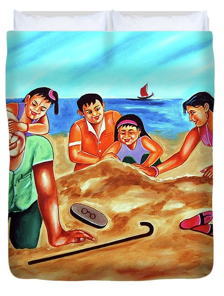 Duvet Cover featuring the painting Happy Family by Ragunath Venkatraman