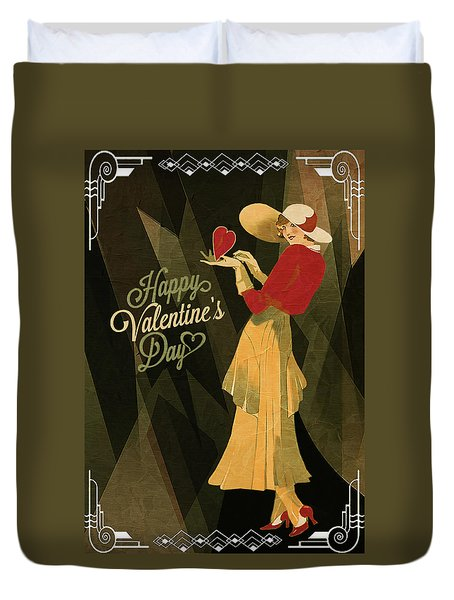 Duvet Cover featuring the digital art Happy Valentines Day by Jeff Burgess