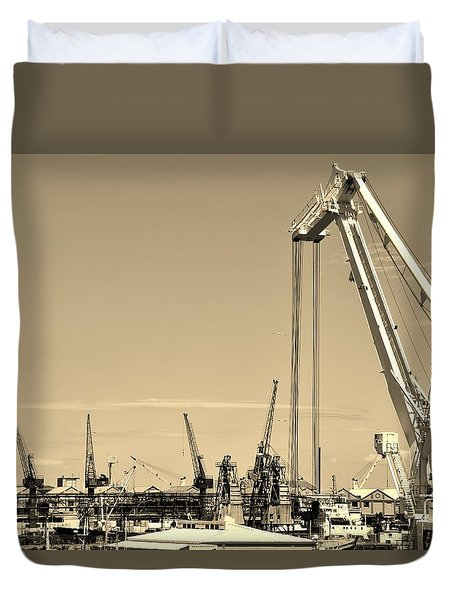 Duvet Cover featuring the photograph Harbor Impression by Werner Lehmann