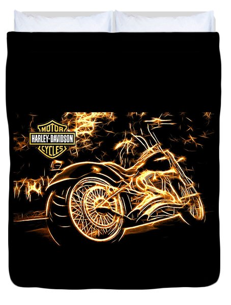 Duvet Cover featuring the photograph Harley-davidson by Aaron Berg