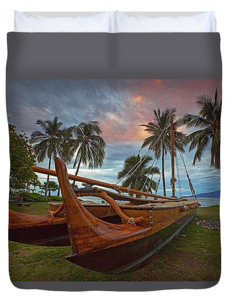 Hawaiian Sailing Canoe Duvet Cover