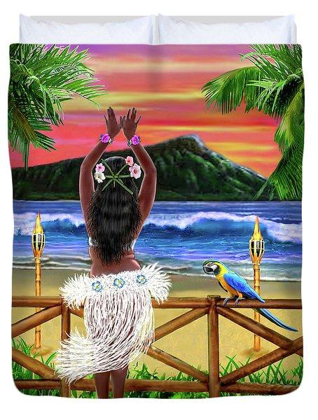 Hawaiian Sunset Hula Duvet Cover by Glenn Holbrook