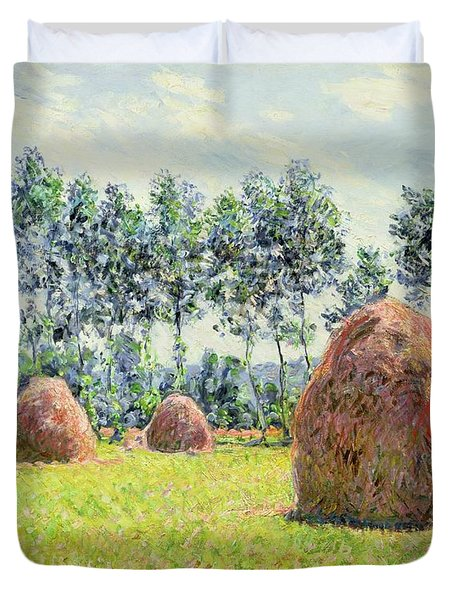 Haystacks At Giverny Duvet Cover by Claude Monet