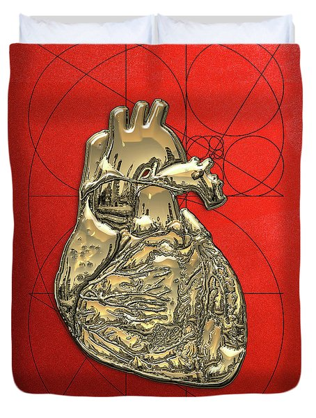 Heart Of Gold - Golden Human Heart On Red Canvas Duvet Cover by Serge Averbukh