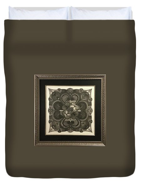 Duvet Cover featuring the drawing Heart To Heart by James Lanigan Thompson MFA