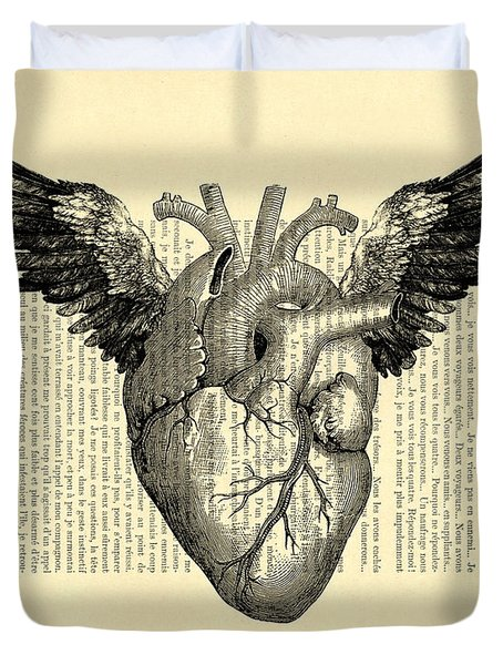 Heart With Wings Duvet Cover
