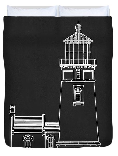 Heceta Head Lighthouse - Oregon - Blueprint Drawing Duvet Cover