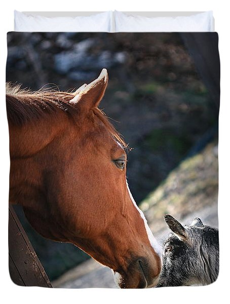 Duvet Cover featuring the photograph Hello Friend by Angela Rath