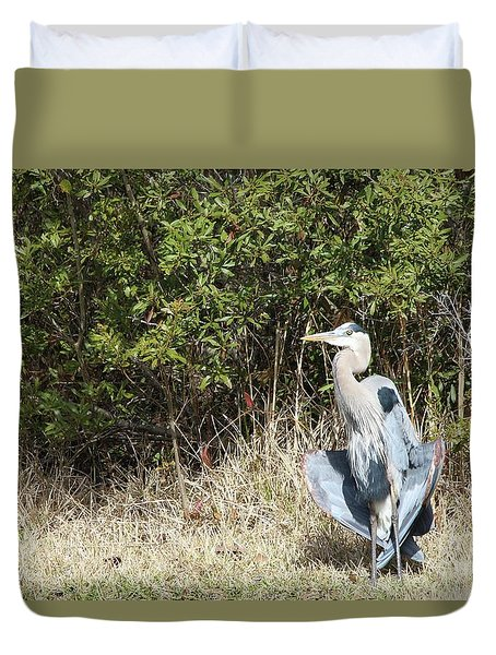 Duvet Cover featuring the photograph Henry The Heron by Benanne Stiens