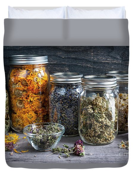 Duvet Cover featuring the photograph Herbs In Jars by Elena Elisseeva