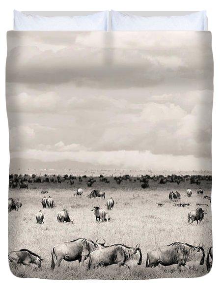 Herd Of Wildebeestes Duvet Cover