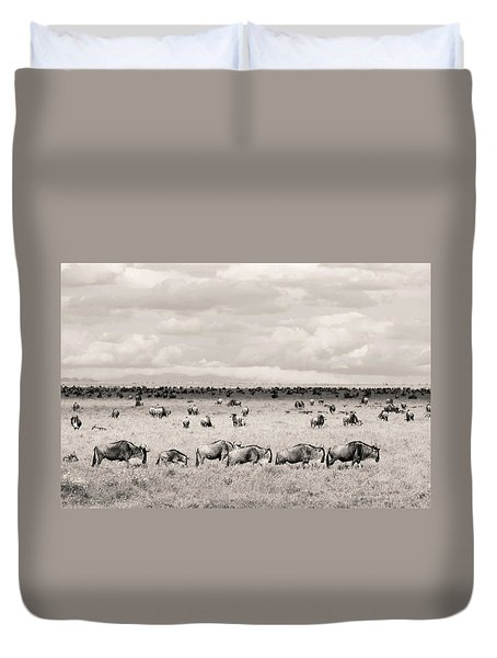 Duvet Cover featuring the photograph Herd Of Wildebeestes by Stefano Buonamici