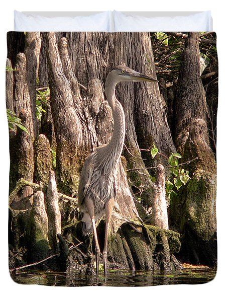 Duvet Cover featuring the photograph Heron And Cypress Knees by Steven Sparks