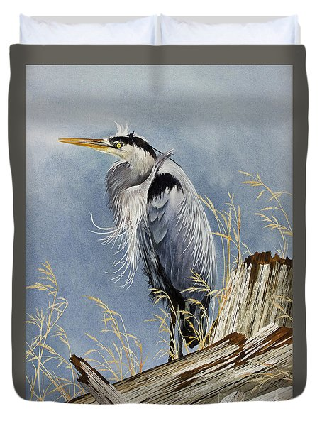 Duvet Cover featuring the painting Herons Windswept Shore by James Williamson