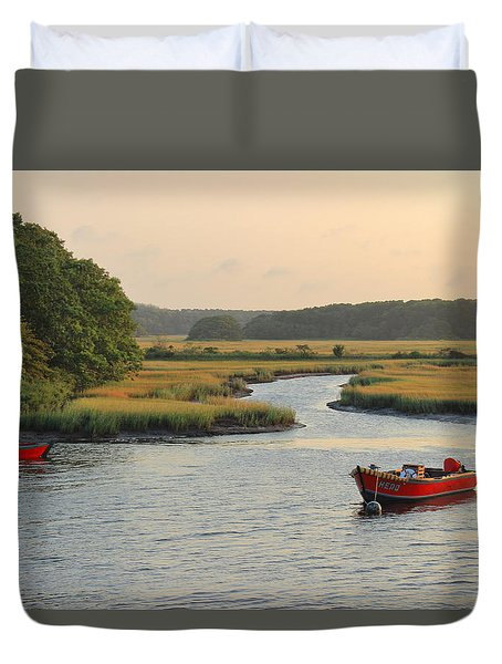 Herring River And Red Boats Cape Cod Duvet Cover