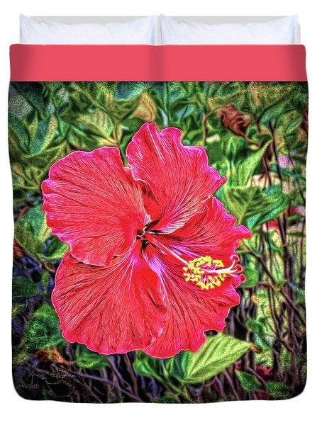 Duvet Cover featuring the photograph Hibiscus Flower by Lewis Mann