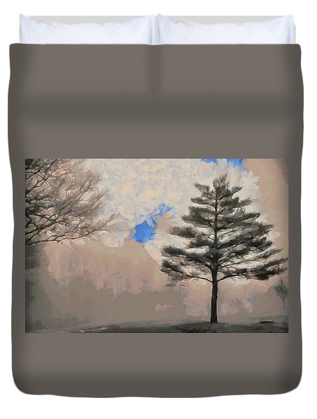 Duvet Cover featuring the mixed media Hickory by Trish Tritz