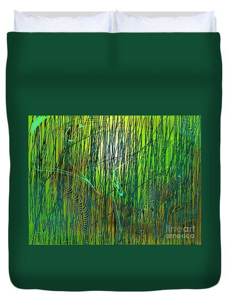 Duvet Cover featuring the digital art Bamboo Dancing by Yul Olaivar