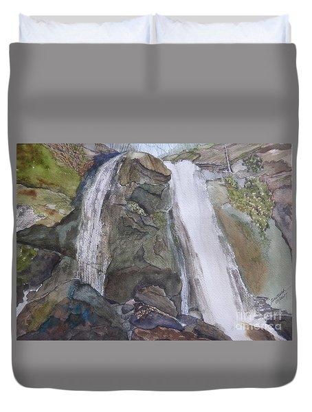 Duvet Cover featuring the painting High Shoals Falls by Joel Deutsch