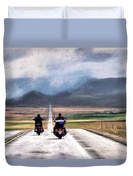 Duvet Cover featuring the photograph Highway In The Wind by Jim Hill