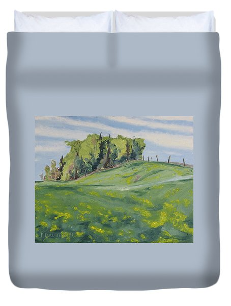 Hills Forest And Dadelions  Duvet Cover by Francois Fournier