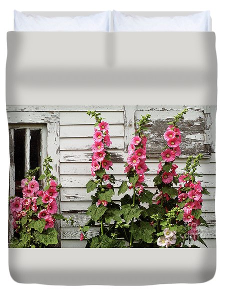 Hollyhocks Duvet Cover