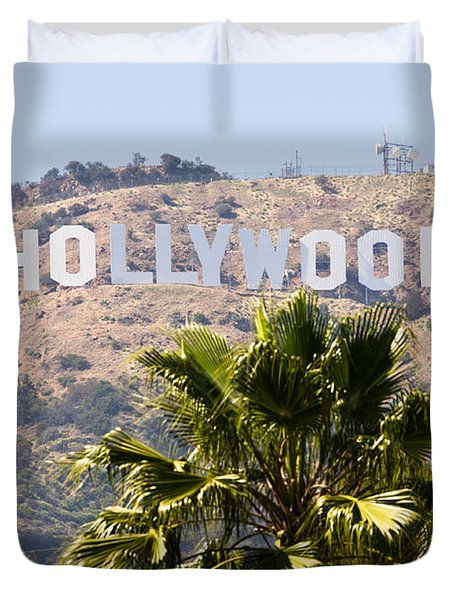 Hollywood Sign Photo Duvet Cover by Paul Velgos