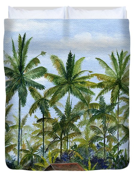 Duvet Cover featuring the painting Home Bali Ubud Indonesia by Melly Terpening