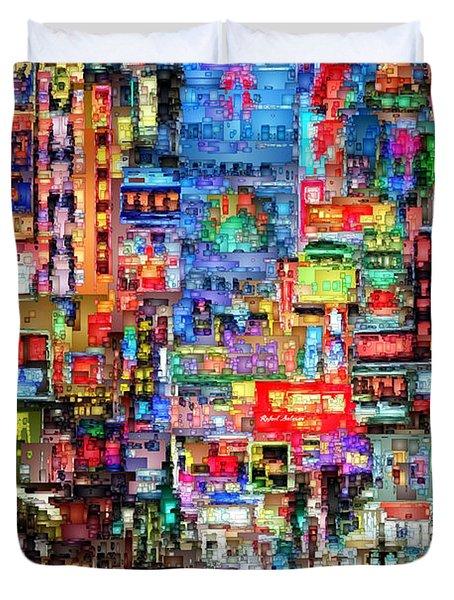 Hong Kong City Nightlife Duvet Cover