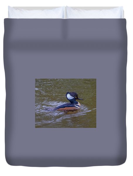 Duvet Cover featuring the photograph Hooded Merganser by Jerry Cahill