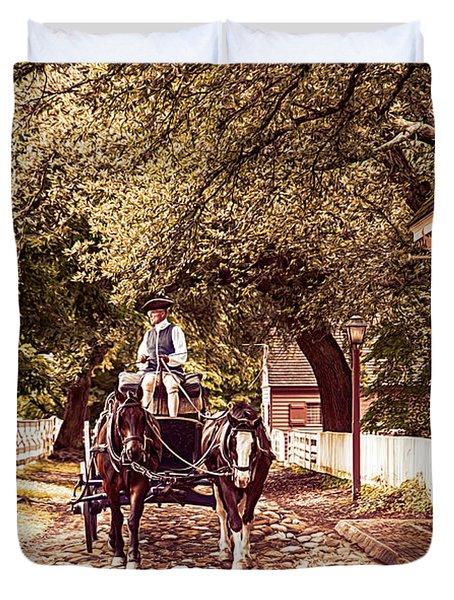 Horse Drawn Wagon Duvet Cover